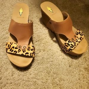 Volatile tan and leopard cork wedges